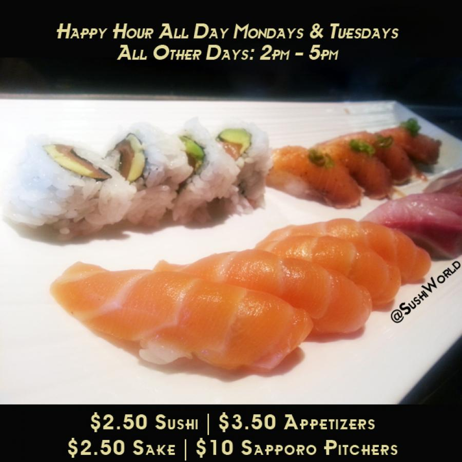 Best Happy Hour OC Orange County Sushi World Salmon Yellowtail Peppered Salmon