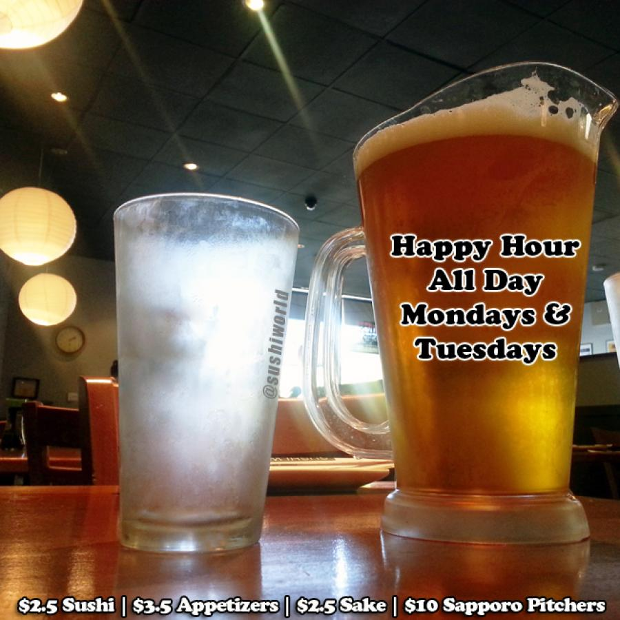 Sapporo Pitchers Orange County OC Best Happy Hour Deal Cypress Sushi World