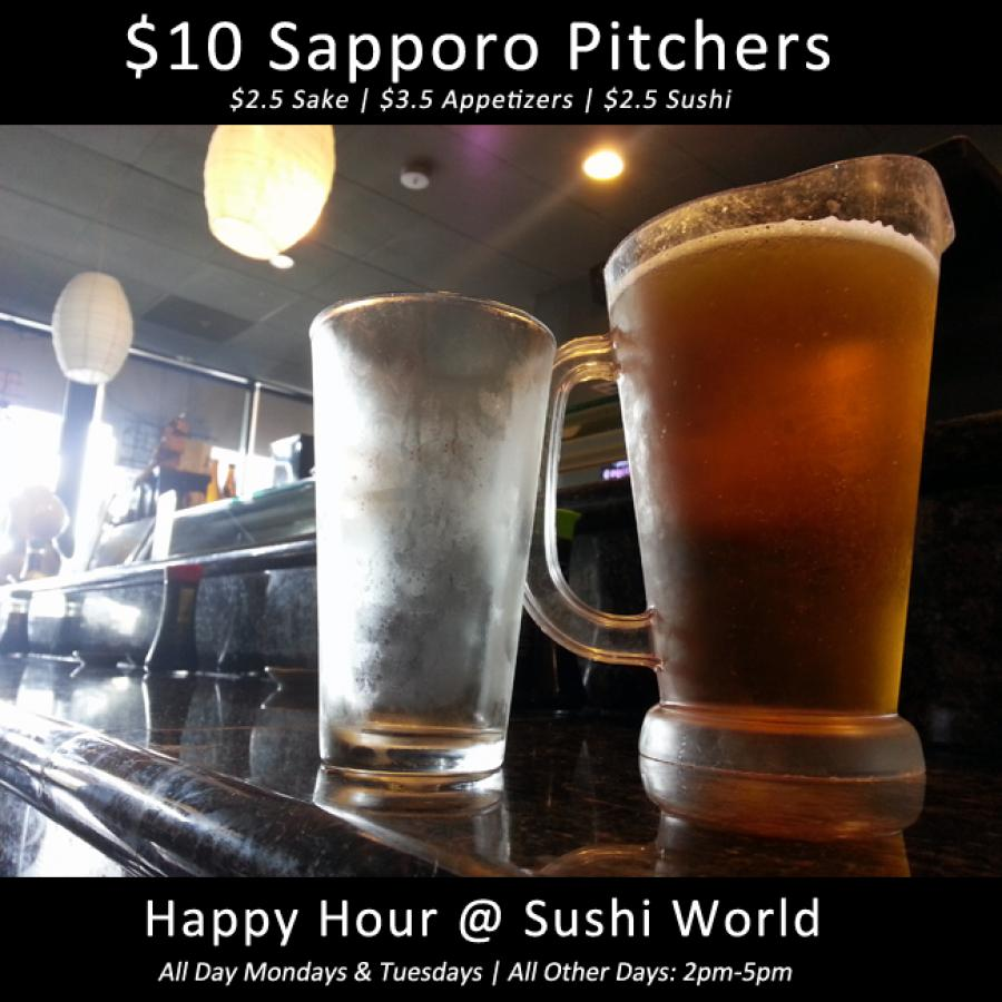 Sapporo Pitchers Best Happy Hour Prices Deal Orange County OC Sushi World
