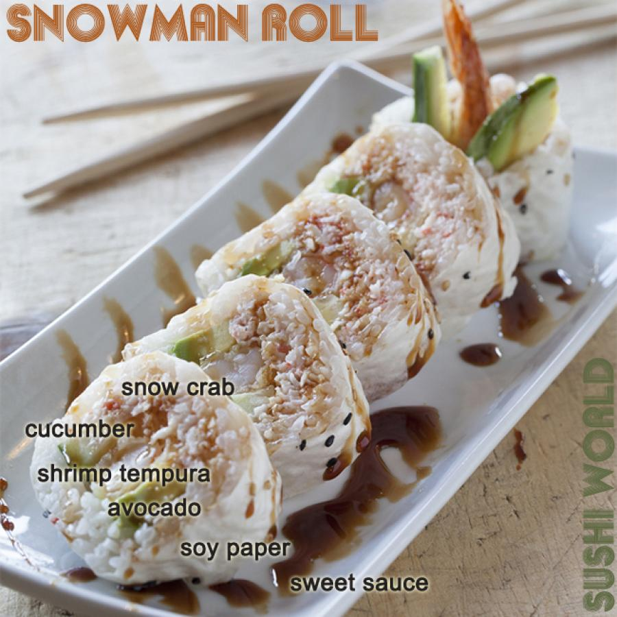 Snowman Roll Sweet Sauce Soy Paper Snow Crab Shrimp Tempura Sushi Roll Orange County OC Sushi World