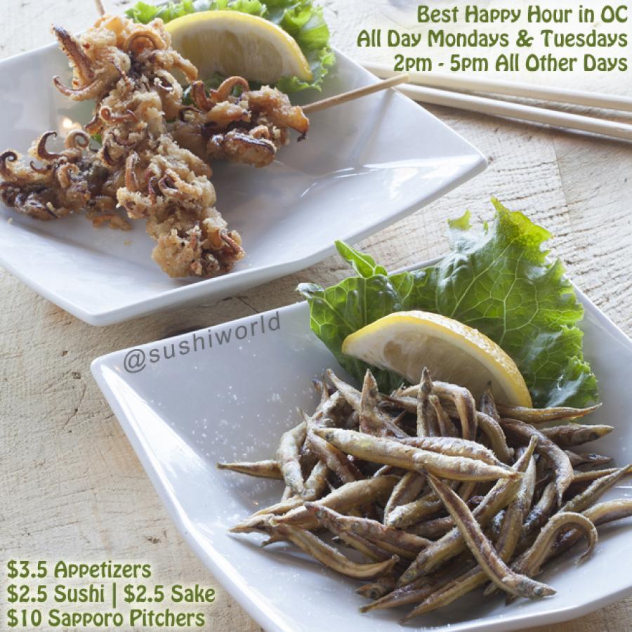 Squid Karaage Kushi Ikanago Fried Sand Lance Orange County OC Happy Hour Sushi World