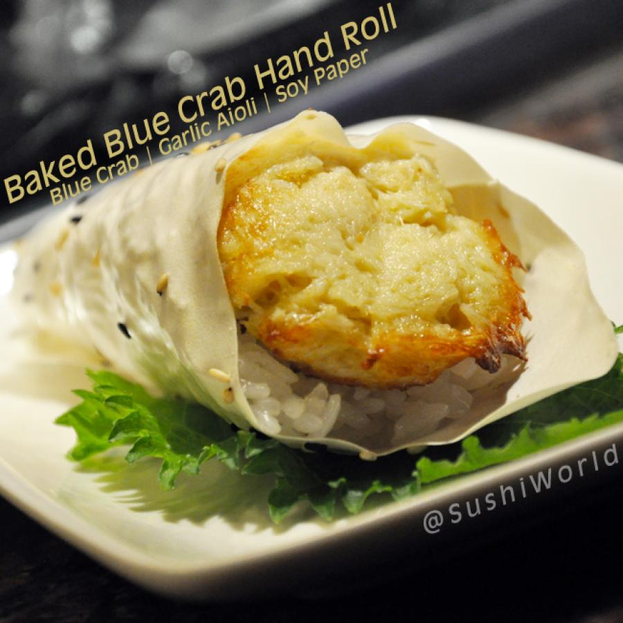 Baked Blue Crab Hand Roll Garlic Aioli Soy Paper Cypress Orange County OC Sushi World