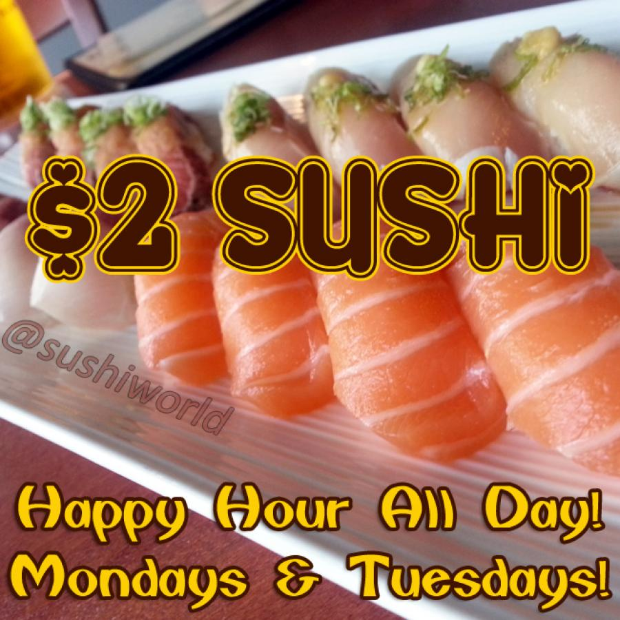 $2 Sushi All Day Mondays Tuesdays Orange County Happy Hour Cypress Salmon Albacore Red Snapper Sushi World
