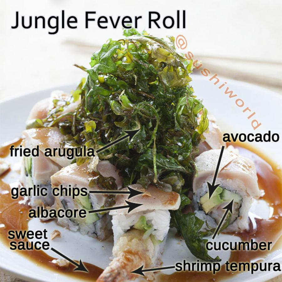 Jungle Fever Roll Breakdown Albacore Shrimp Tempura Fried Arugula Garlic Chips Orange County OC Cypress Sushi World