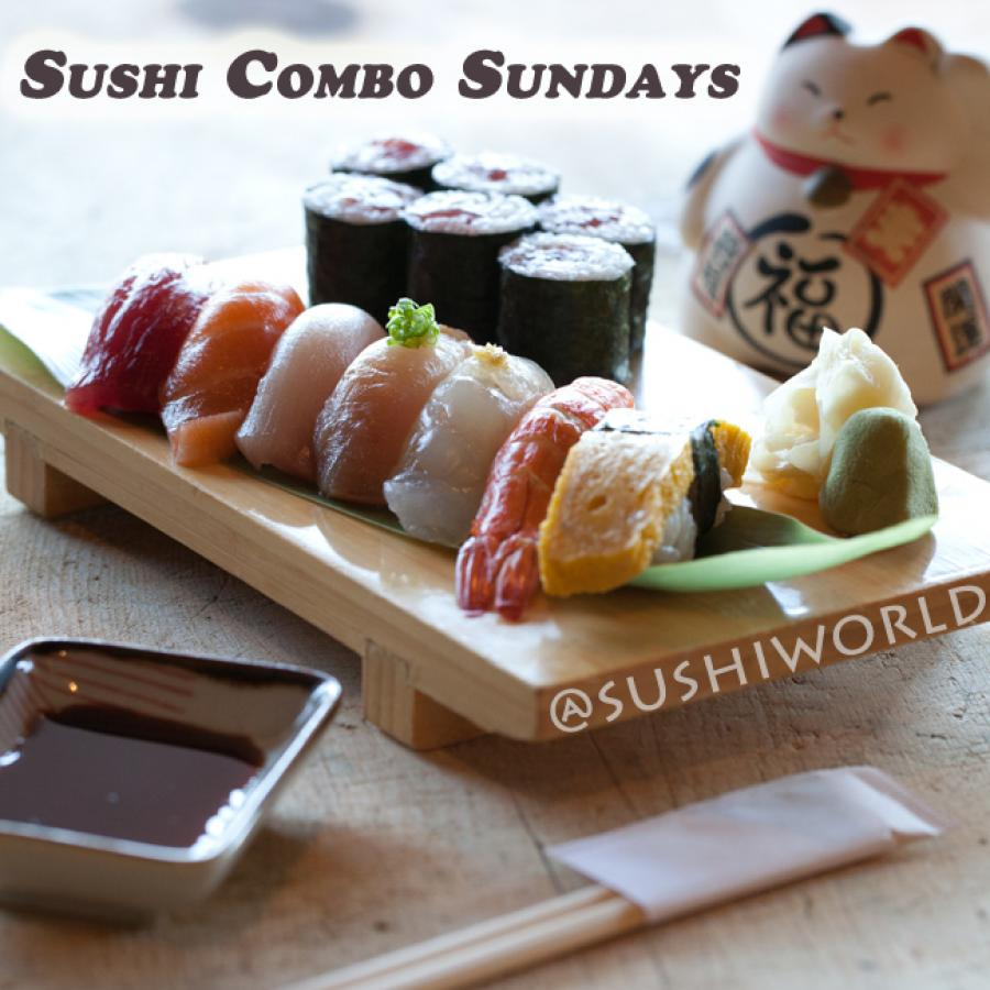 Sushi Combo Sundays Tuna Salmon Shrimp Tamago Tekka Maki Tuna Roll Orange County OC Cypress Sushi World