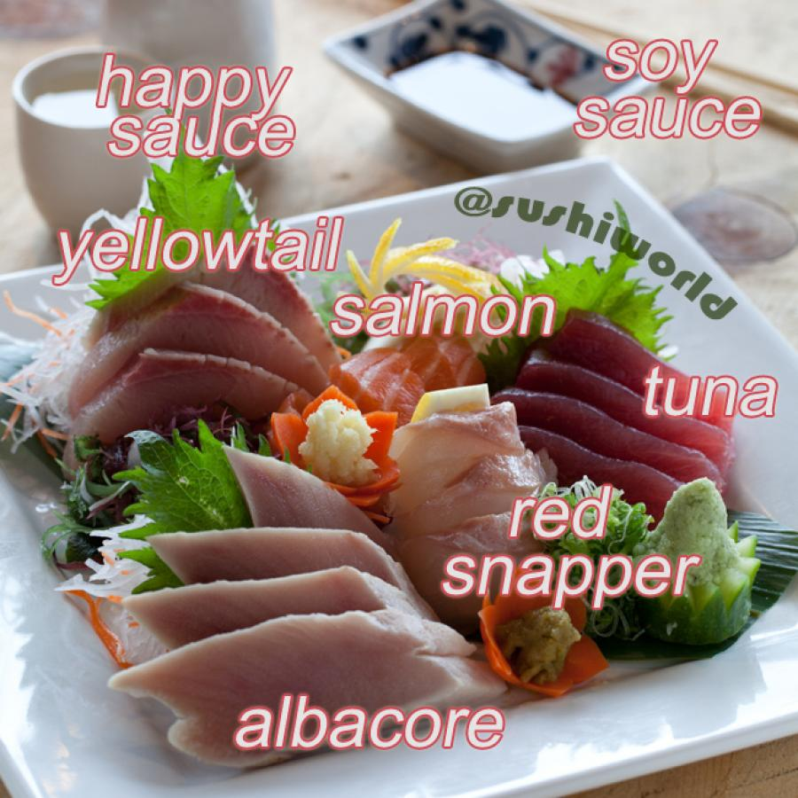 Sashimi Sampler Carb Free Zone Albacore Red Snapper Tuna Salmon Yellowtail Sushi World Orange County OC