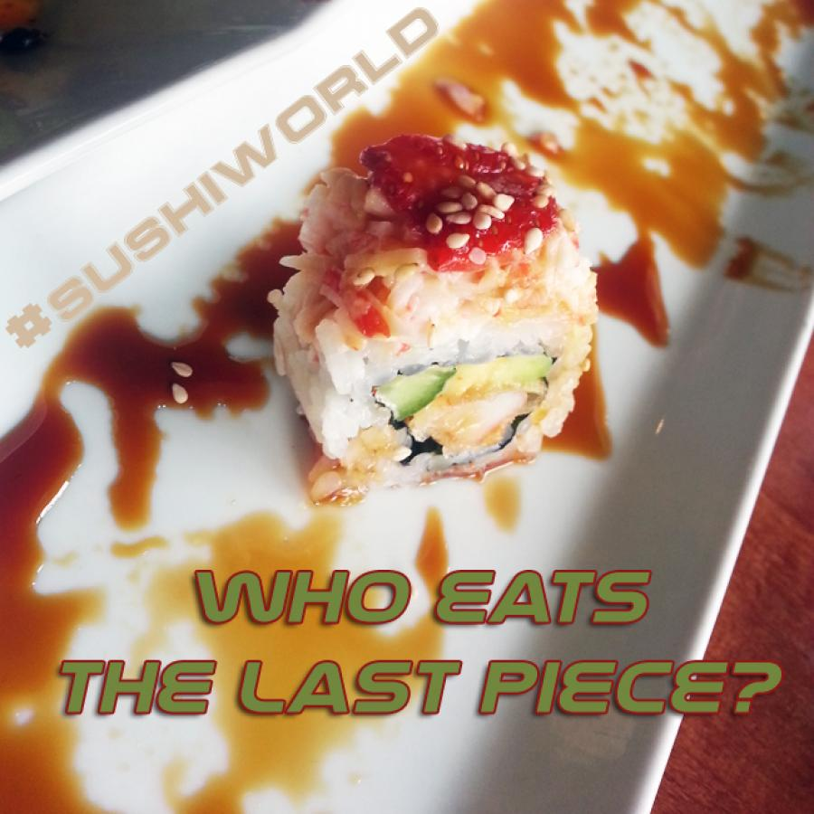 Eat the last piece of sushi Cypress Roll Orange County Sushi World OC