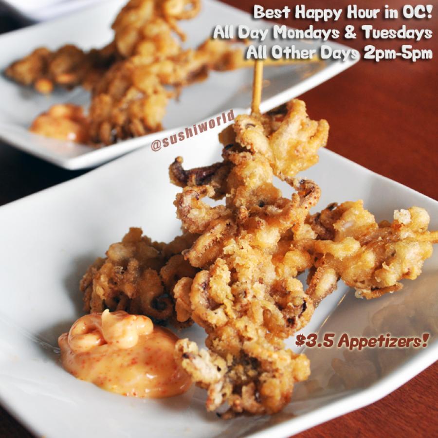 Squid Karaage Kushi Ikanago Breaded Squid Skewer Happy Hour All Day Tuesdays Orange County OC Sushi World