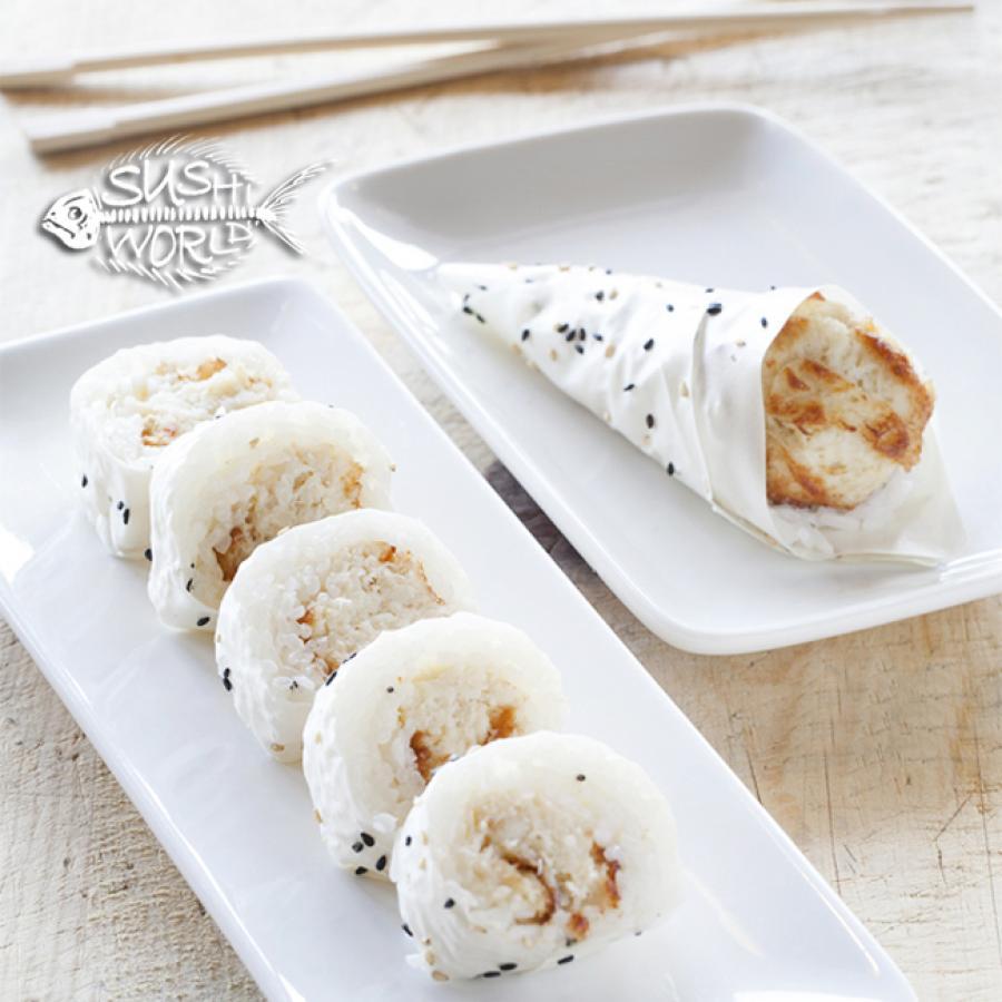 Baked Blue Crab Hand Roll Cut Roll Sushi World Orange County OC Cypress