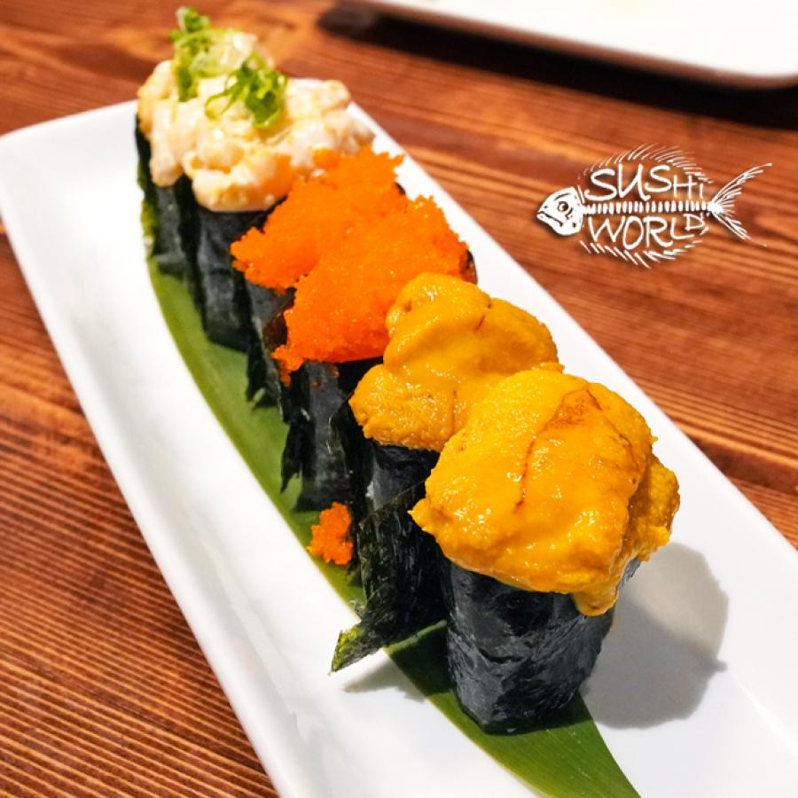 Gunkan Maki Uni Masago Spicy Scallops Seaweed Nori Rice Orange County Sushi World OC