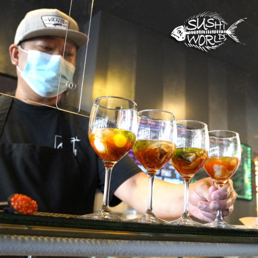Oyster Shooters Masago Fresh Shucked Ponzu Sake Green Onions Sushi World