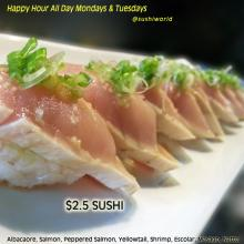 Albacore Green Onions Nigiri Best Happy Hour Orange County OC Cypress Sushi World
