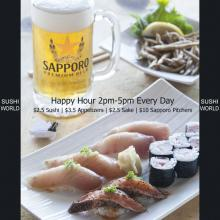 Happiest Happy Hour Orange County OC Better than Disneyland Appetizers Sapporo Sushi World