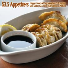 Chicken Gyoza Best Happy Hour in Orange County OC Appetizers Sushi World Cypress