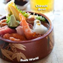 Orange county's best chirashi bowl sushi world cypress tuna albacore yellowtail salmon