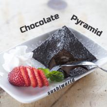 Chocolate Pyramid Hard Exterior Smooth Inside Strawberries Whipped Cream Dessert Orange County OC Sushi World