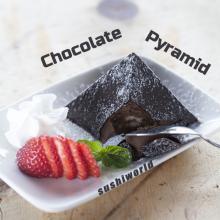 Chocolate Pyramid Hard Exterior Smooth Inside Strawberries Whipped Cream Dessert Orange County OC Sushi World