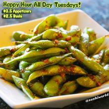Garlic Edamame Orange County Best Happy Hour Sushi World OC Cypress Appetizers