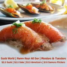 Peppered Salmon Baked Mussels Happy Hour All Day Mondays Tuesdays Sushi World