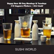 Sapporo Pitchers Sake Best Happy Hour OC Orange County Sushi World