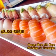Salmon Albacore Yellowtail Peppered Sushi Orange County Cypress Sushi World Best Happy Hour