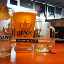 Japanese Beer Sapporo Pitcher Orange County Best Happy Hour OC Sushi World