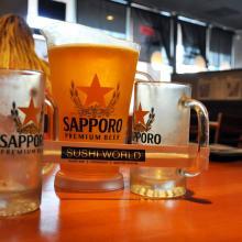 Japanese Beer Sapporo Pitcher Orange County Best Happy Hour OC Sushi World
