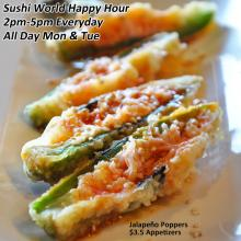 Jalapeno Poppers Appetizers Cypress Orange County OC Sushi World Japanese Restaurant