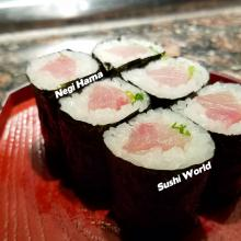 Orange County Happy Hour Sushi World Negi Hama Sake Sapporo Salmon Skin Hand Rolls