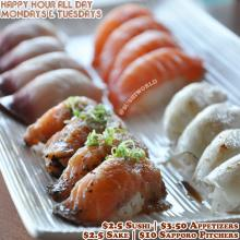 Best Orange County OC Happy Hour Sushi World Deal Cypress Peppered Salmon Escolar Salmon Yellowtail
