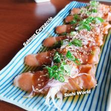 Salmon Carpaccio Red Onions Ponzu Sesame Oil Orange County OC Sushi World