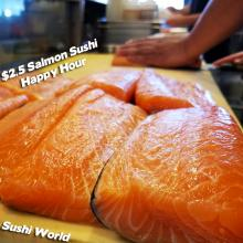 Best Happy Hour in Orange County Salmon Slabs Sushi World OC Sushi Chef