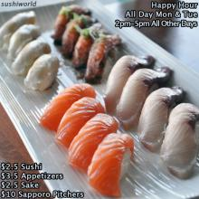 Orange County Best Happy Hour Salmon Yellowtail Escolar Peppered Salmon Sushi World Cypress