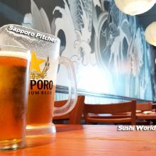 Sapporo Pitchers Happy Hour All Day Mondays Tuesdays Best in OC Orange County Sushi World