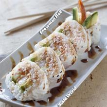 Snowman Roll Shrimp Tempura Snow Crab Avocado Cucumber Soy Paper Sweet Sauce Sushi World Orange County OC Cypress