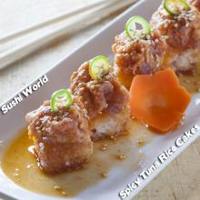 Spicy Tuna Rice Cakes Happy Hour All Day Mondays Tuesdays Orange County OC Sushi World