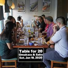 Orange County Omakase Table for 20 Sushi World Sake
