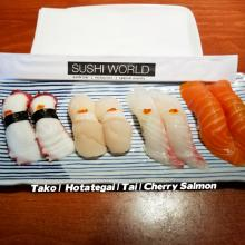 Japanese Tapas Tako Octopus Jumbo Scallops Hotategai Red Snapper Tai Cherry Salmon Sushi World Orange County OC