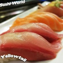 Yellowtail Salmon Albacore Peppered Sushi World OC Happy Hour Best in Orange County