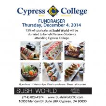 Cypress College Fundraiser Veteran Students Community Giving Back Sushi World