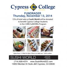 Cypress College Fundraiser Sushi World 15% of Sales Donated Community Give Back