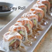 Bentley Roll Seared Salmon Spicy Tuna Avocado Sesame Dressing Sweet Sauce Orange County OC Sushi World