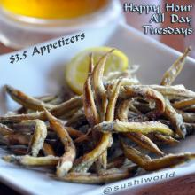 Fried Sand Lance Ikanago Karaage Appetizers Happy Hour All Day Tuesdays Best in OC Sushi World Orange County