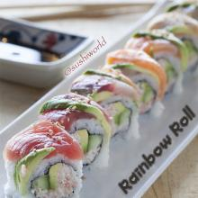 Rainbow Roll Tuna Salmon Yellowtail Red Snapper Shrimp Avocado Sushi World Orange County OC