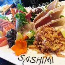 Orange County Sashimi Sampler OC Albacore Tuna Red Snapper Yellowtail Salmon Sushi World