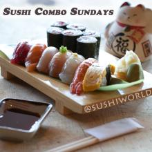 Sushi Combo Sundays Tuna Salmon Shrimp Tamago Tekka Maki Tuna Roll Orange County OC Cypress Sushi World