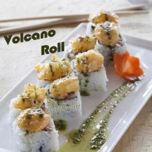 Volcano Roll Spicy Tuna Tempura Rock Shrimp Cucumber Basil Oil Orange County OC Sushi World