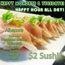 $2 Sushi Albacore Salmon Peppered Salmon Yellowtail Shrimp Escolar Masago Natto Orange County's Best Happy Hour Sushi World OC