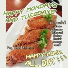 Happy Hour All Day Mondays Tuesdays $2 Sushi $2 Sake Peppered Salmon Orange County Sushi World OC