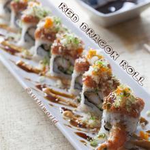Red Dragon Roll Shrimp Tempura Spicy Tuna Masago Green Onions Spicy Mayo Orange County Sushi World OC
